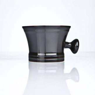 Rasierschale aus Porzellan schwarz mit Griff